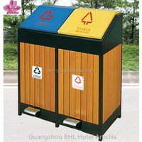 outdoor wooden pedal trash can recycle bin for street GPX-148