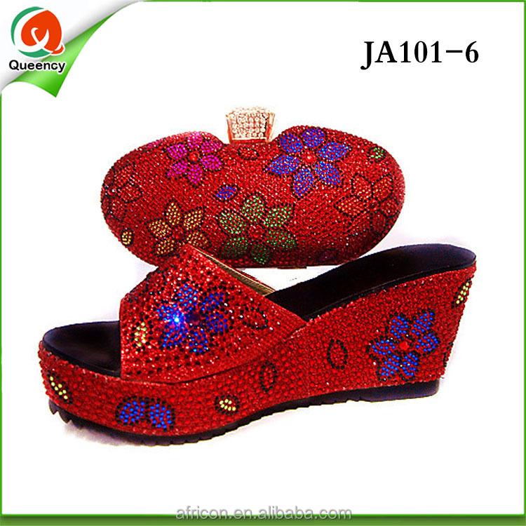 bag set shoes white 1 ladies sandals matching Nigeria bags JA101 heel and high I7Px1ww