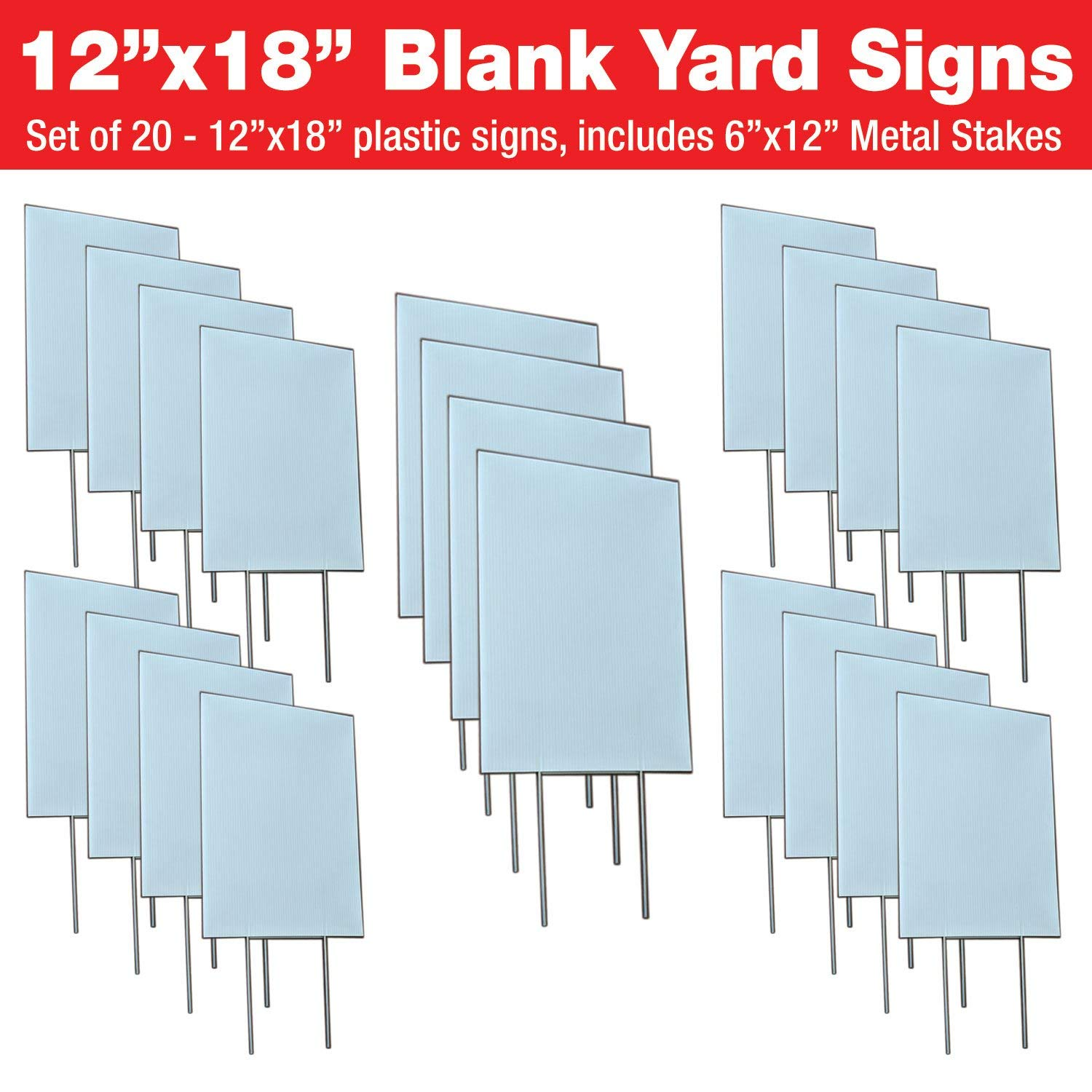 Get quotations · visibility signage experts blank yard signs 12x18 with 6x12 h stakes for garage sale signs
