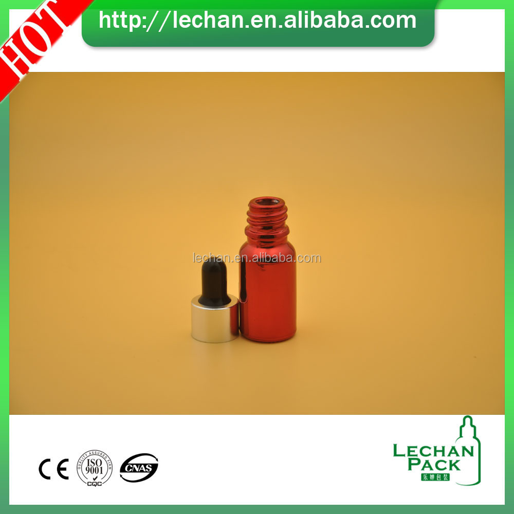 Wholesale glass eliquid round silver screw metal lid red colored glass bottles for 20ml vape liquid