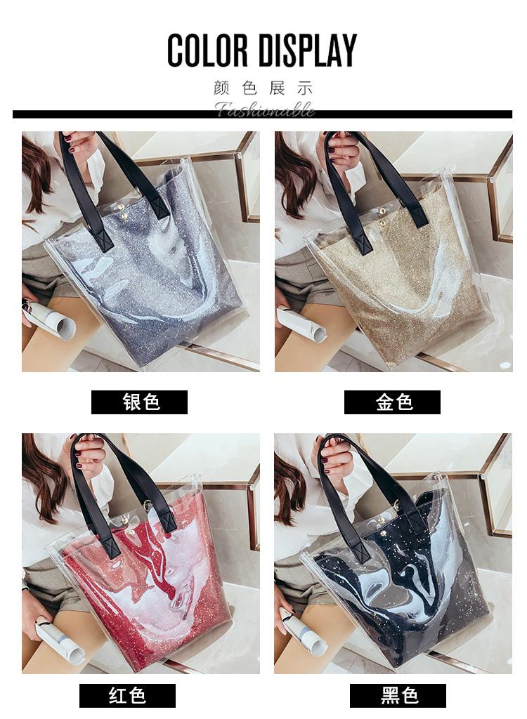 Femmes Transparent Sac /à bandouli/ère Sac /à Main en PVC de Plage en Plastique Transparent Tote Grande capacit/é Blanc