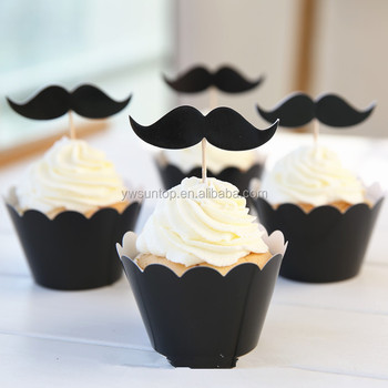 Hot Black paper cupcake wrappers + mustache cake toppers wedding birthday party baby shower favors decorations