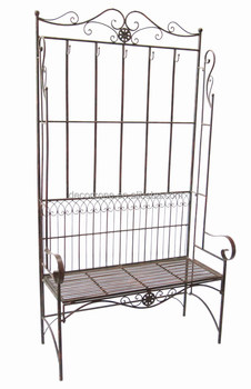antique decorative of metal high back bench with hooks