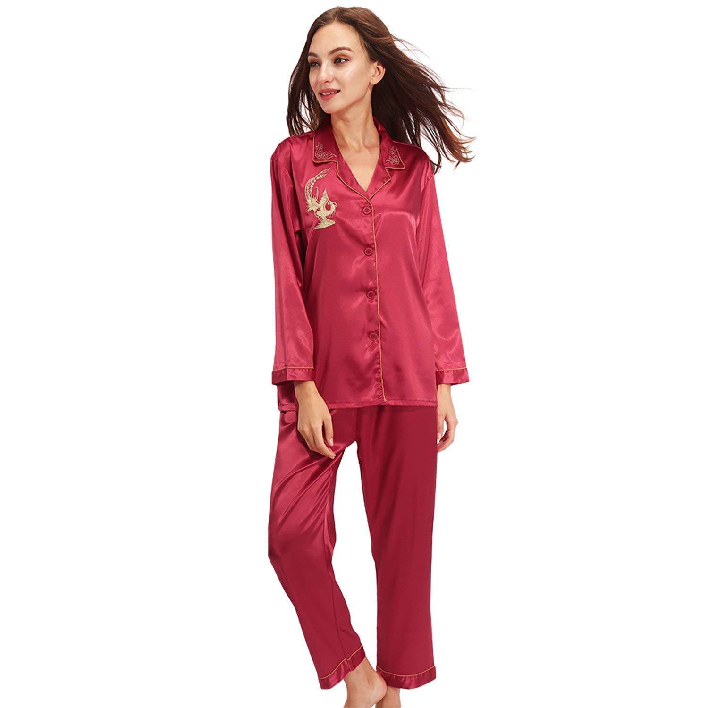 Get Quotations · Dormery Silk Pajamas Women Long Sleeve Solid Satin Pyjamas  Men Love Sleepwear Woman s Lounge Couples Pajama 8a17522db