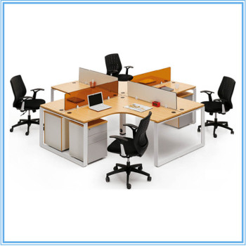 4 People Iron Computer Office Desk Table