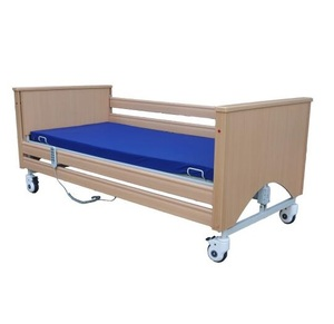 6 functions electrical wooden folded hospital home care nursing bed