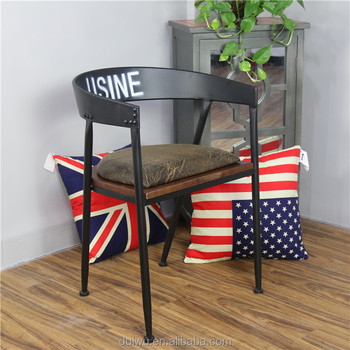 industrial style material customise restaurant iron chair with wood seat