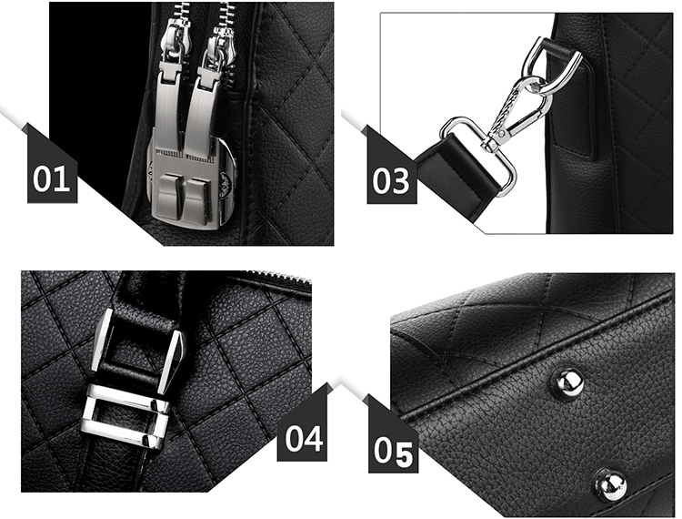 Waterproof Fashion Diamond Business Handbag Crossbody Anti-theft Men Shoulder Laptop Bag Briefcase with password lock