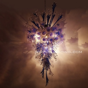 Chihuly style art glass chandelier lamp with LED light source for hotel and home decoration
