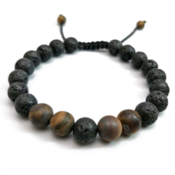 Famous Brand Women Men Bracelets 8mm Lava Rock Stone Bead Braiding Weave Adjule Bracelet For