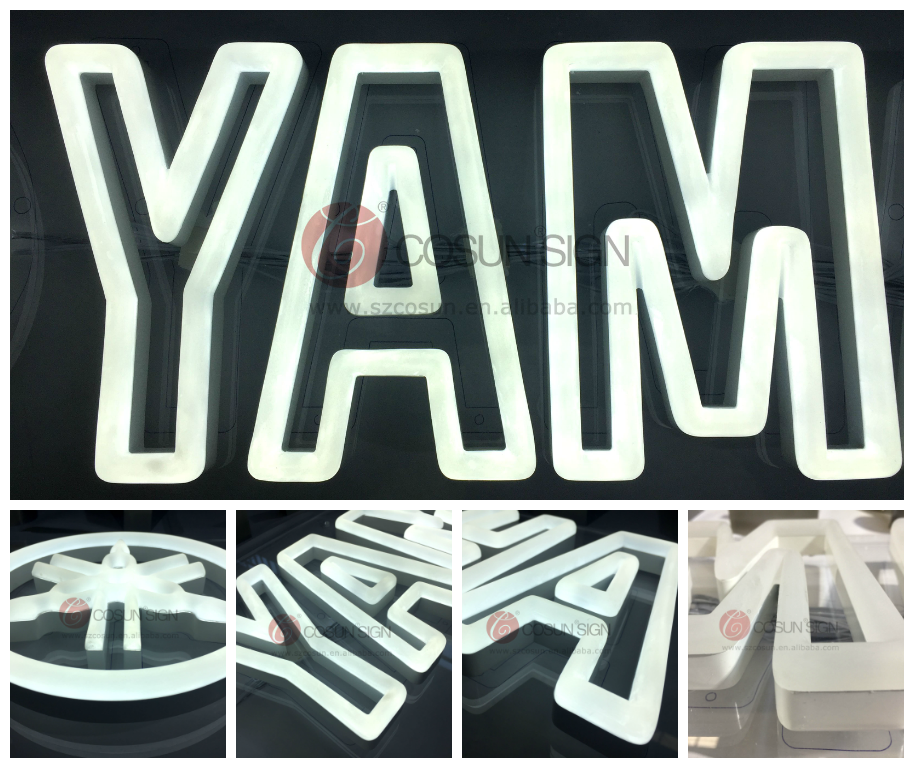 Custom colorful smooth outdoor led plastic acrylic neon letter sign