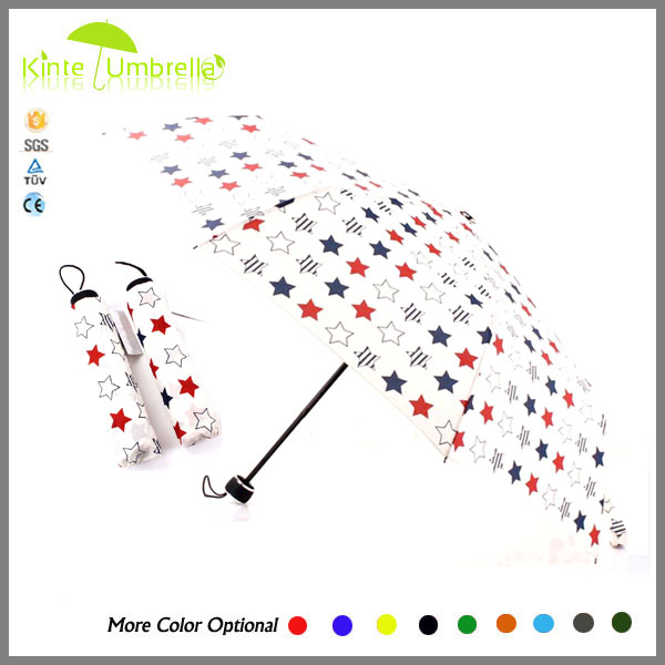 Print white color 3 fold manual open umbrella factory in China