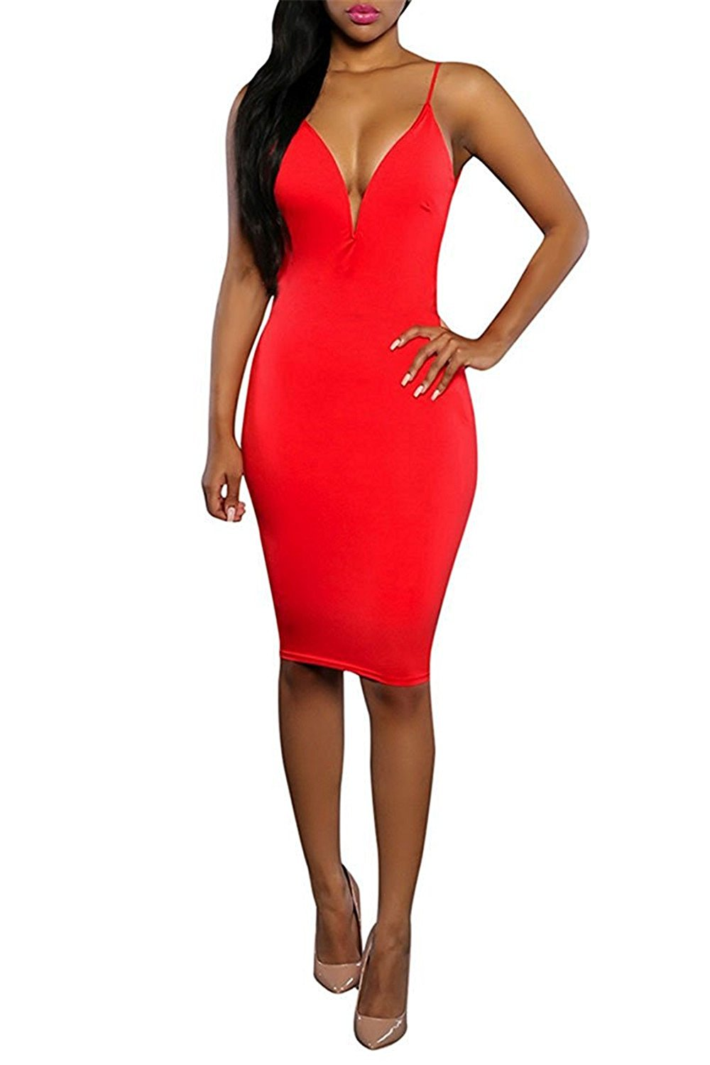 d176d40caf Get Quotations · Fordbox Latest Womens Sleeveless Bodycon Midi Dress  Backless Plunge Club Dress