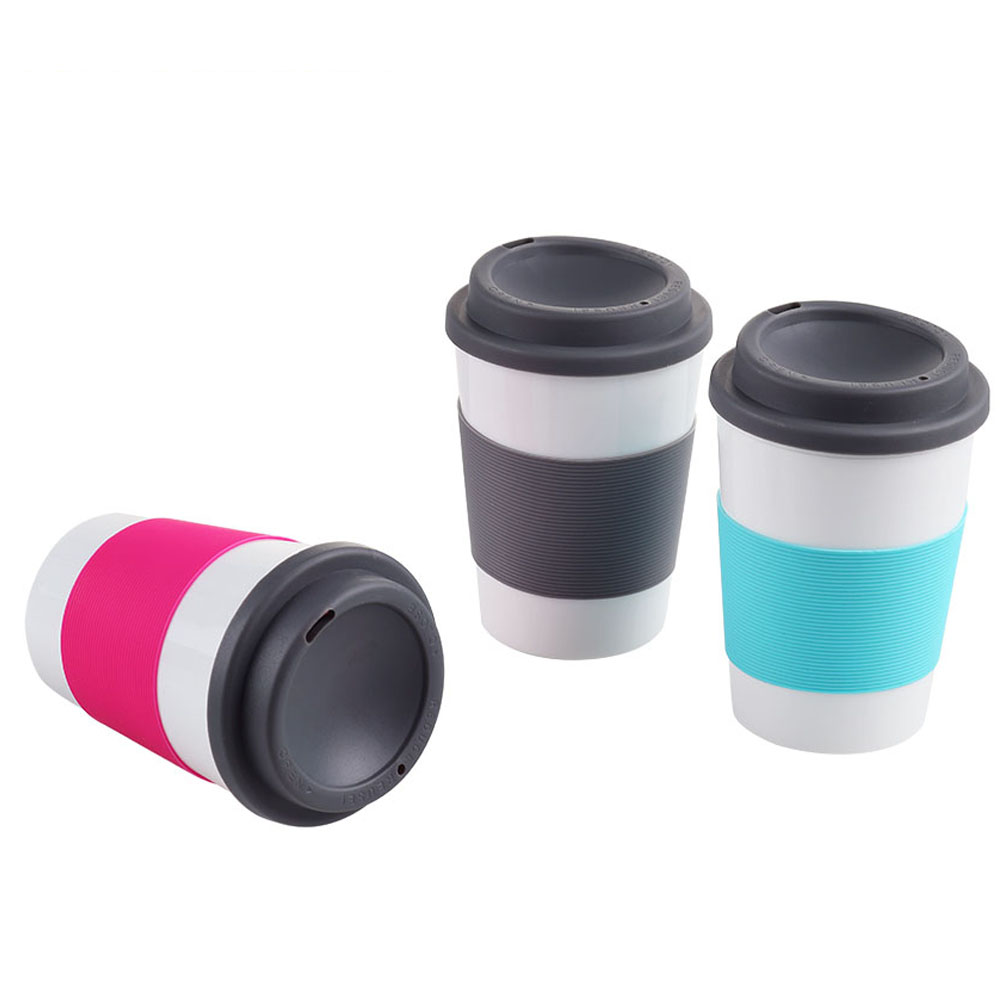 Reusable 12oz custom double wall insulated plastic PP coffee <strong>cups</strong> with a lid and a silicone band