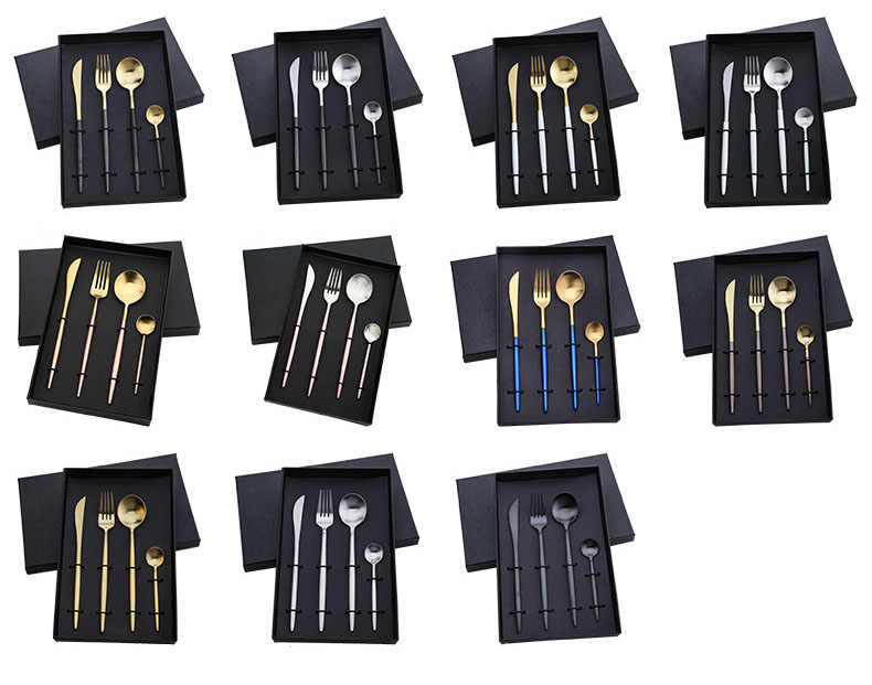 Professional Elegant Stainless Steel 4pcs Cutlery Set with Gift box