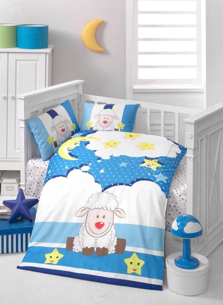 LaModaHome 5 Pcs Baby Sheep Cheerful Stars Moon Dreaming Sky Blue Toddler Cotton Bedding COTTON COMFORTER Set, Turkey 100% Cotton Nursery [with COTTON Quilt/Comforter]