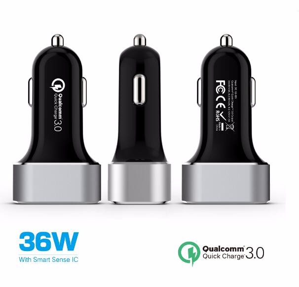36W quick charge 3.0 dual USB car charger, car charger qc 3.0