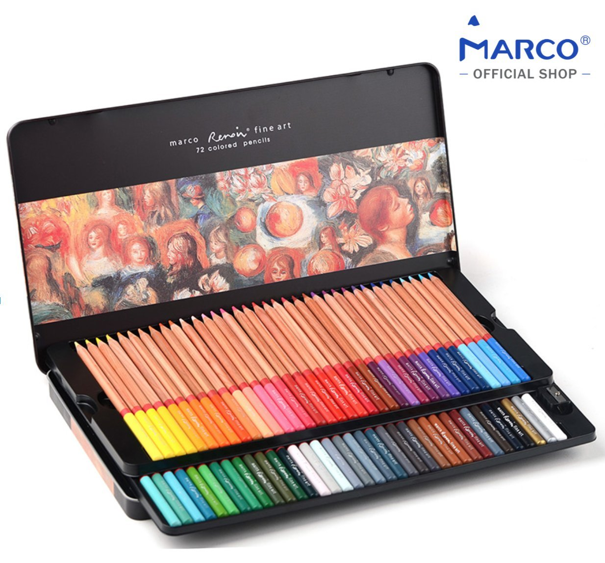 [MARCO OFFICIAL SHOP]Marco Renoir Fine Art 3100, Pack of 72 Colored Pencils, Tin Box,3.7mm Super Thick Lead, Incense Ceder Wood, Ultimate Set for Artist,Extra Protection Packaging