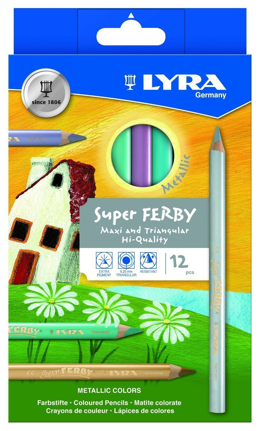 LYRA Super Ferby Lacquered Triangular Giant Colored Pencils, 6.25 Millimeter Lead Core, Set of 12 Pencils, Assorted Metallic Colors (3721122)