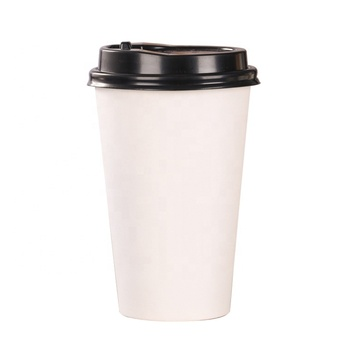 Disposable compostable plain white paper cup for 8oz 12oz 16oz