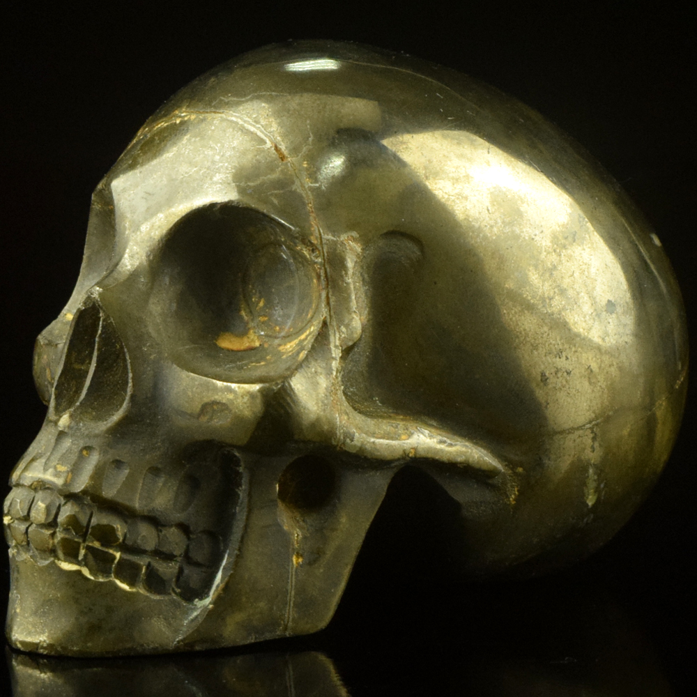 3 inch pyrite hand carved metal skull carving <strong>craft</strong> for decor