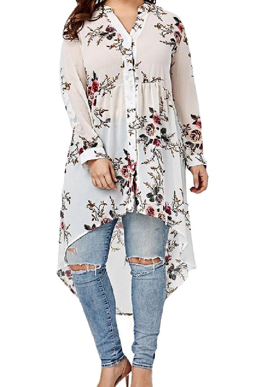 FreelyWomen Freely Womens Printing Floral Plus Size Asymmetrical Hem Tunic T-Shirts