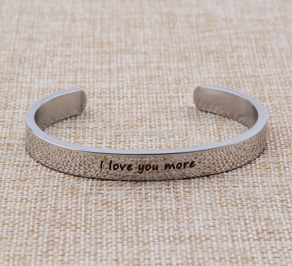 I love you more stainless steel cuff bangle personalized letter words phrase engraved cuff bangle