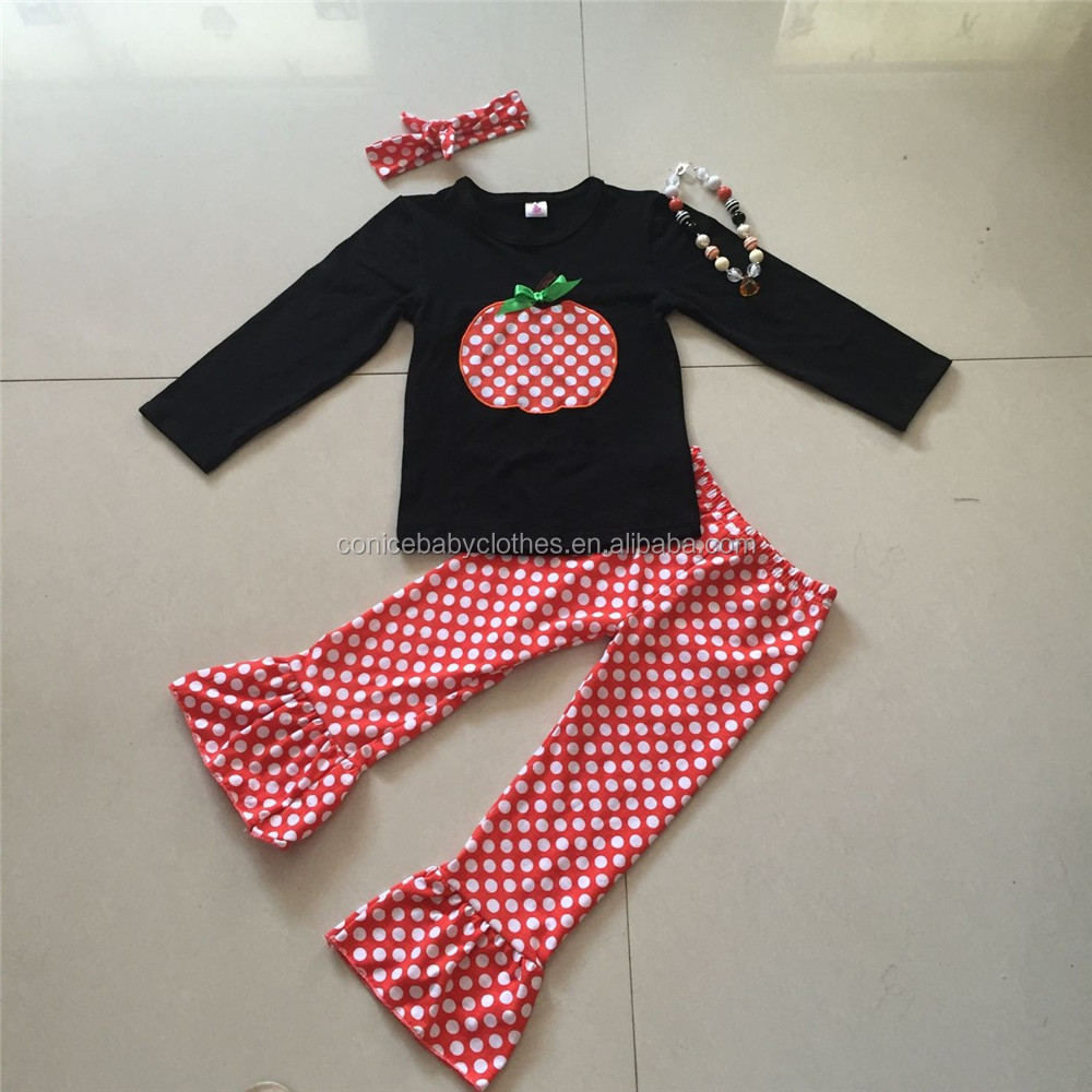 2016 new coming halloween holiday childrens clothing baby pumpkin clothes with necklace and headband