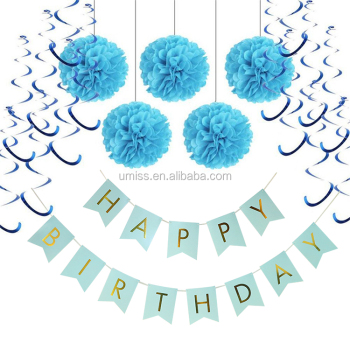 UMISS Happy Birthday Decorations Pack White Banner Pom Poms Gold Silver Foil Swirls