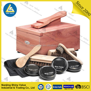Luxury high-grade complete shoe polish kit/Foldable Cover wooden shoe shine box