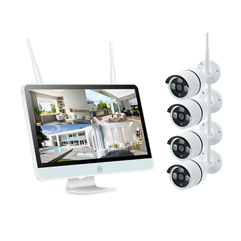 Plug And Play 4CH CCTV Wireless NVR Kit 15 Inch Screen P2P HD WIFI Outdoor IP Camera IR Surveillance System