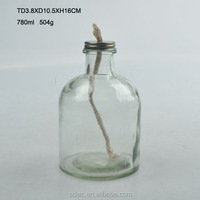 High quality clear round glass oil lamp with hemp rope wick