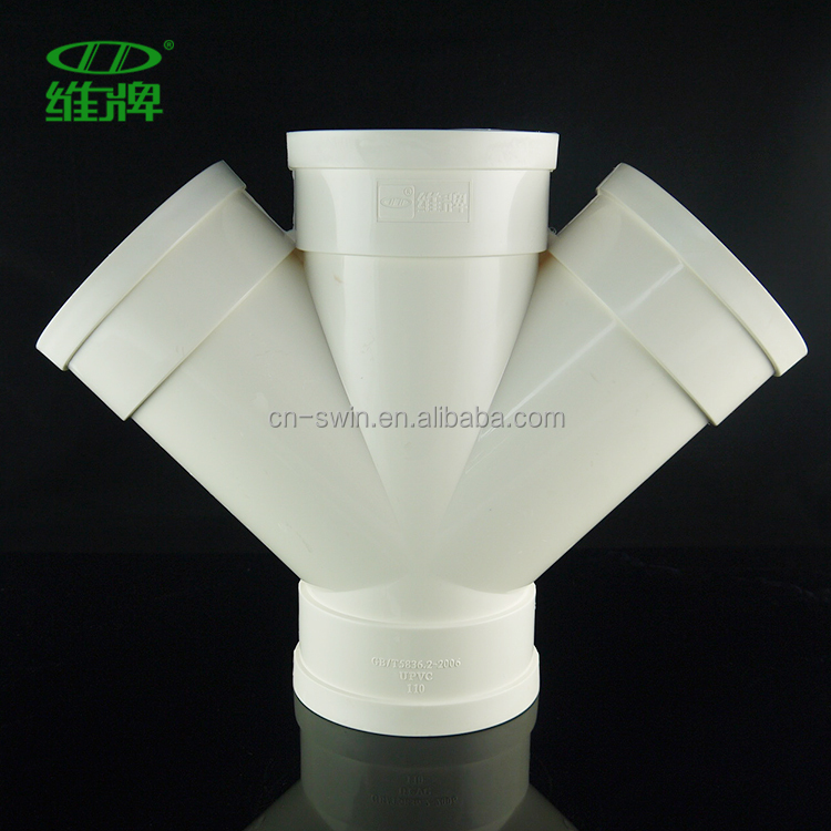 Swin PVC Double Wye/PVC drainage pipe fitting verified by BV/ISO