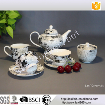 7pcs Black and sandy silver classical bone china porcelain coffee tea sets with tea pot, suger pot and cream pot