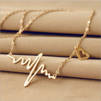 ECG necklace silver and gold plated heart lightning necklace