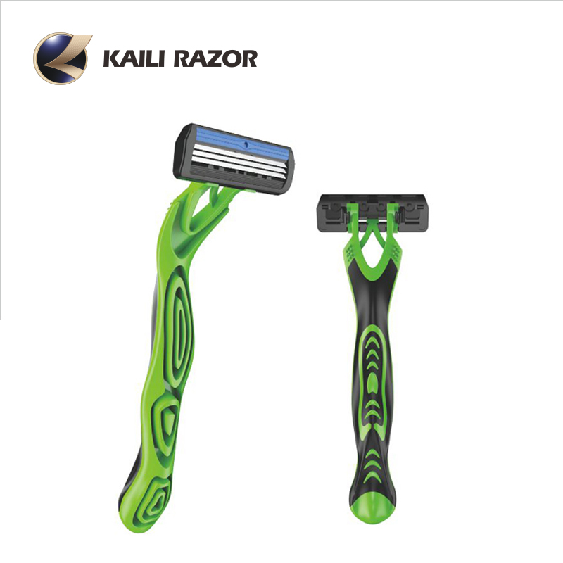Disposable shaving razor with ergonomic curved handle and best quality baldes