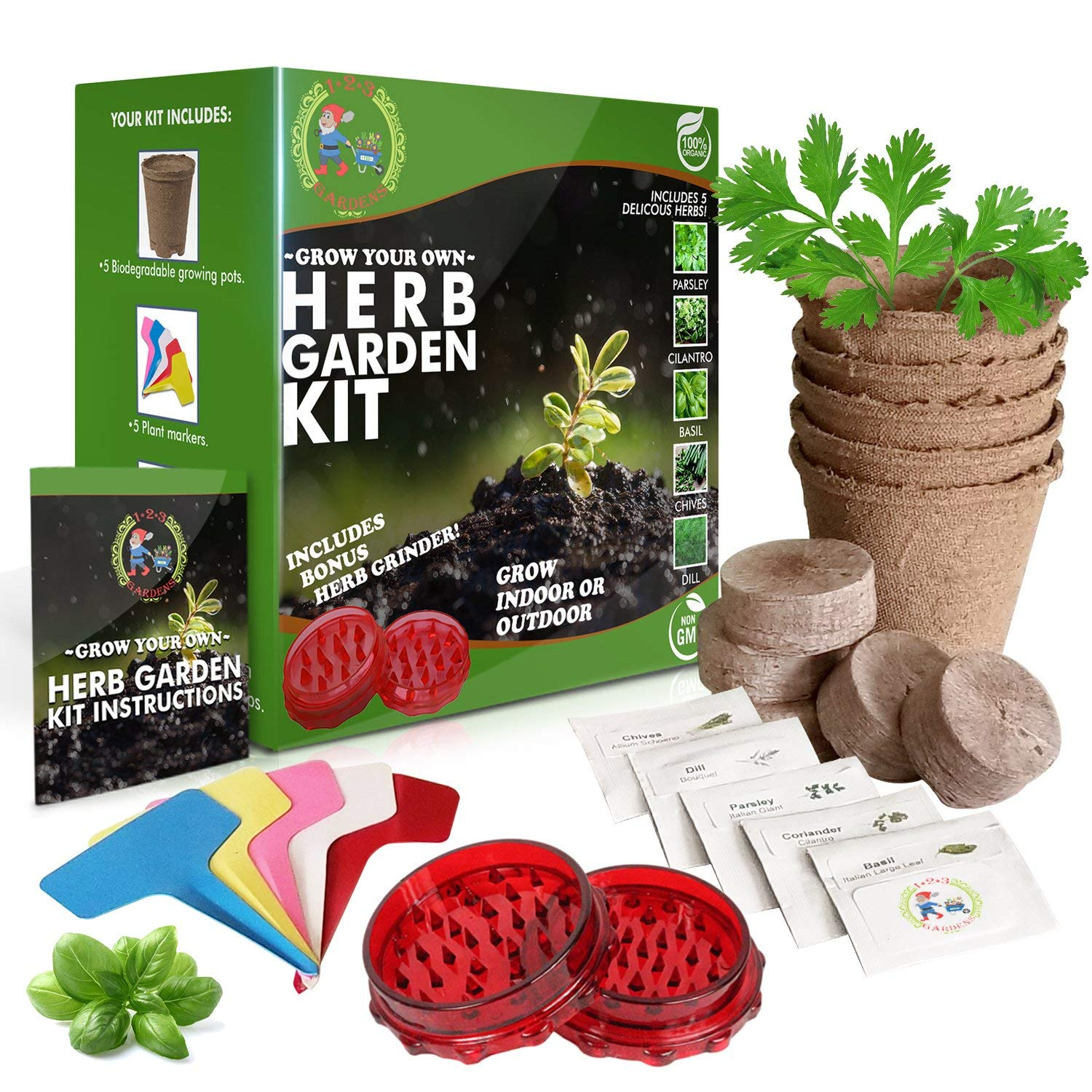 1-2-3 GARDENS- HERB GARDEN STARTER KIT-Grow 5 Delicious Herbs at Home (Parsley, Basil, Chives, Dill,Cilantro)Includes BONUS Herb Grinder- Grow Indoors or Outdoors-Organic and Non-GMO | Great Gift Idea