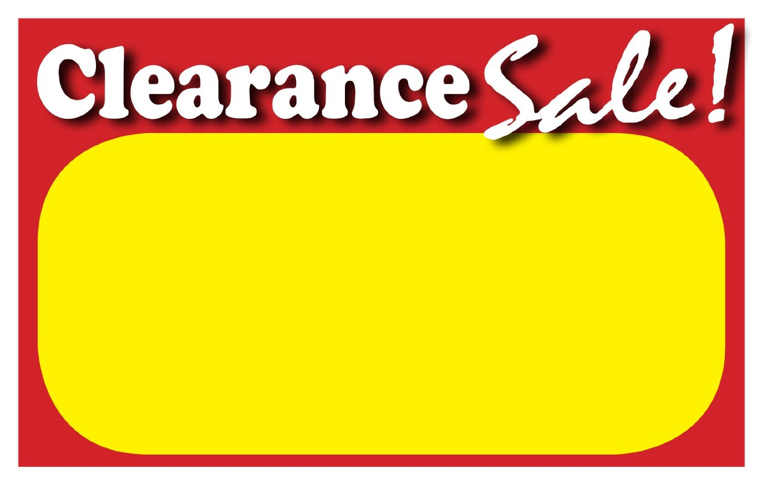 buy retail clearance signs template 5 5 x3 5 blank sale. Black Bedroom Furniture Sets. Home Design Ideas