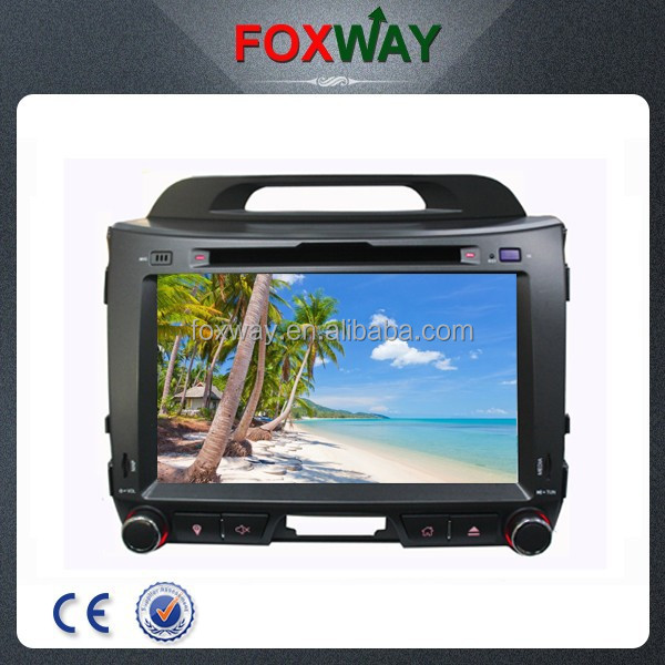 OEM double din auto radio touch screen car dvd gps for sportage with bluetooth/fm/3g/mirror link/steering wheel control