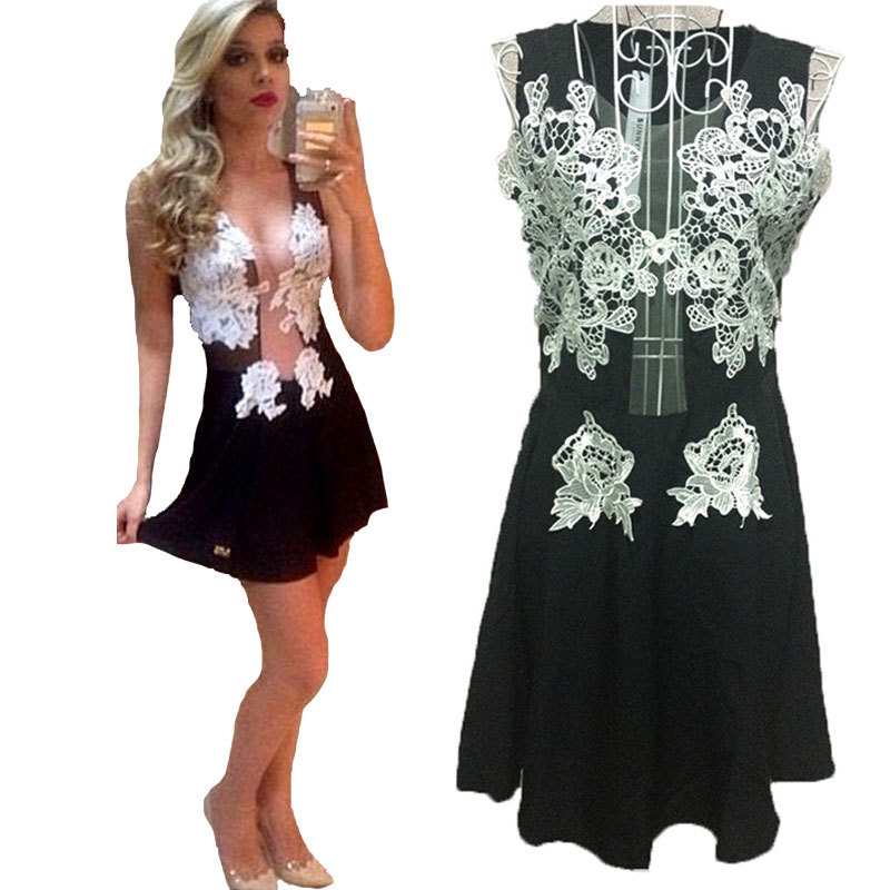 Get Quotations Spring 2017 Women Lace Dress Mesh Patchwork Party Club Dresses White Flower Bodycon