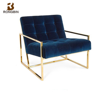 Postmodern Stainless Steel Back Creative Velvet Small Size Sofa Modern Minimalist Furniture Living Room Single