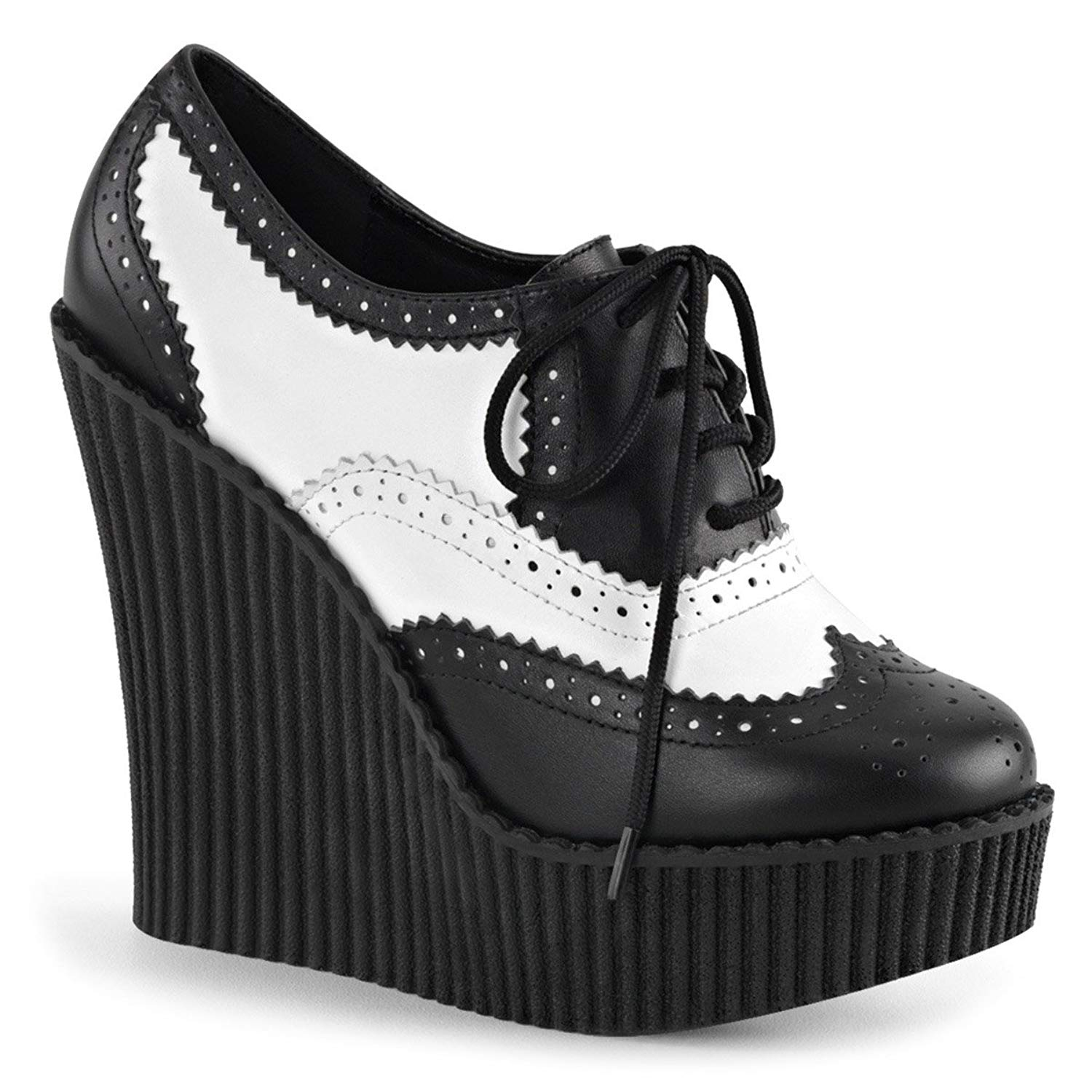 Summitfashions Womens High Heel Wedges Lace up Shoes Platform Creepers Black White Booties
