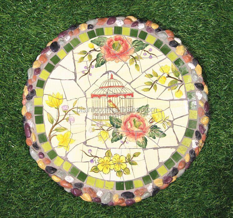 Mosaic Garden Stones: Ceramics Mosaic Stepping Stone,Outdoor Garden Flower And