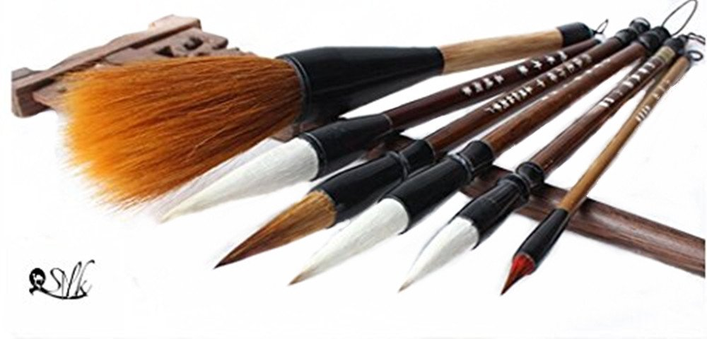 Chinese Calligraphy Japanese Sumi Drawing Brush Hu Pen Lang Hao 3 Pcs Gift Set Wolf Hair