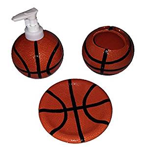 Get Quotations · Sports: Basketball Ceramic Stoneware Bathroom Accessories:  Toothbrush Holder, Soap Dish, And Lotion