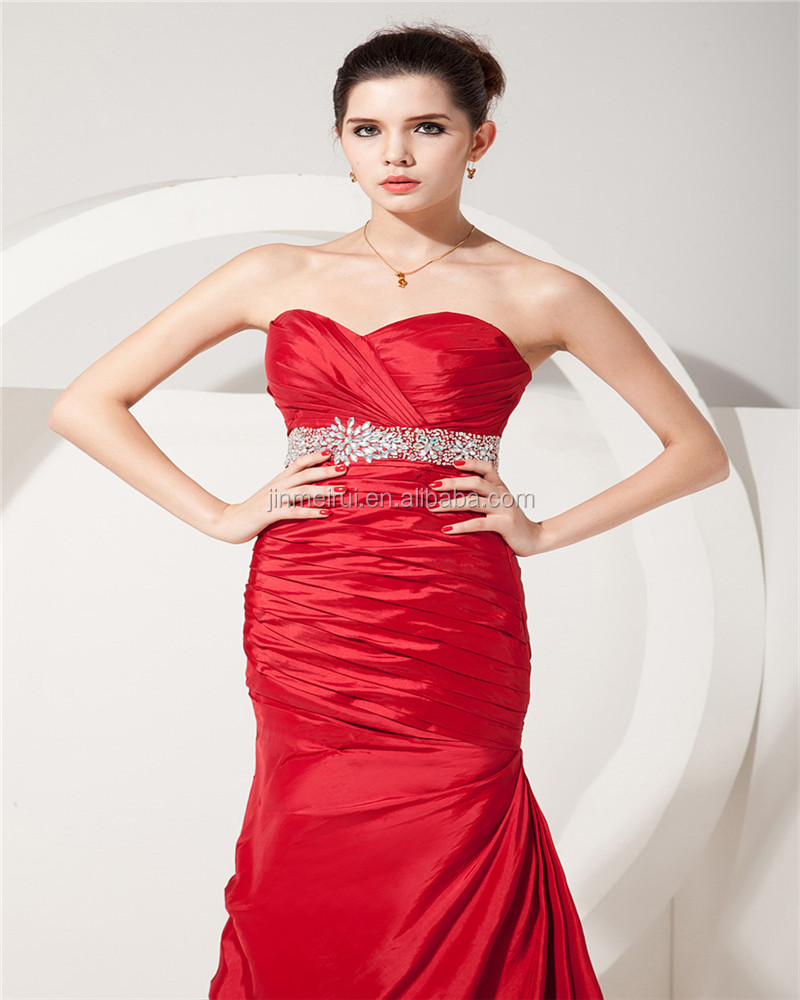 New Arrival Red Sweetheart Sleeveless Evening Gowns Beaded Floor Length Ruched Mother Of The Bride Dress
