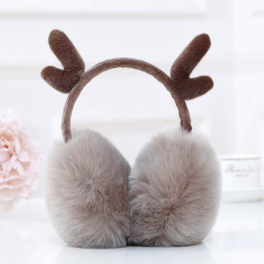 Pink White Heart Shaped Valentine Winter Earmuffs Ear Warmers Faux Fur Foldable Plush Outdoor Gift