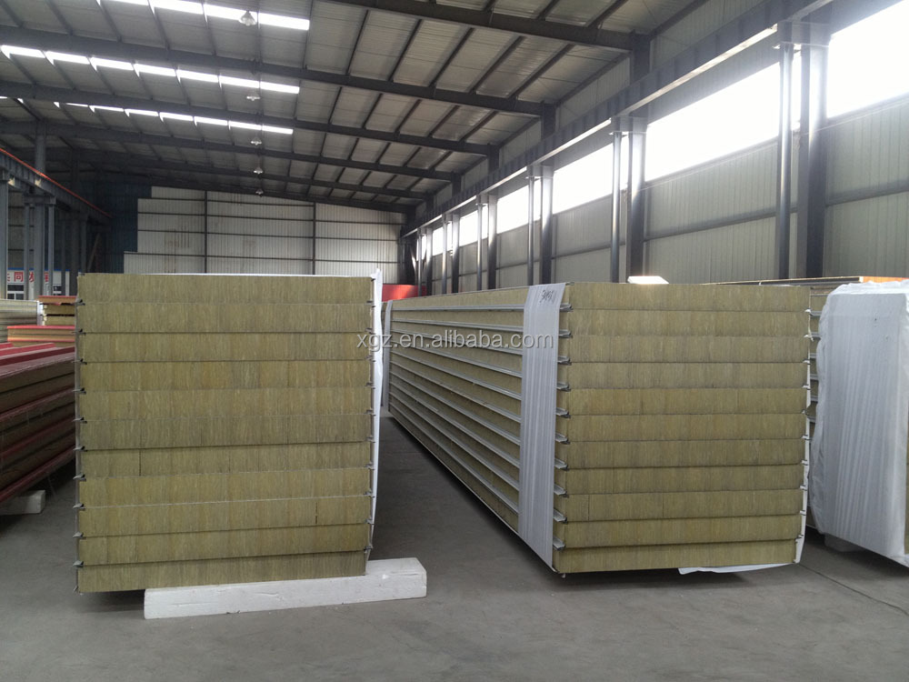 Lightweight Prefab Fire-proof Rockwool Sandwich Wall Panel for external wall