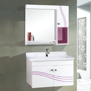 Elegant Modern Bathroom Vanity Hanging Corner Pvc Bathroom Cabinets with Side Cabinet