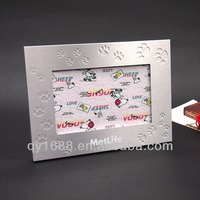 paw print decorative brushed aluminum picture frame